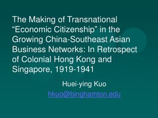 Huei-ying Kuo hkuo@binghamton