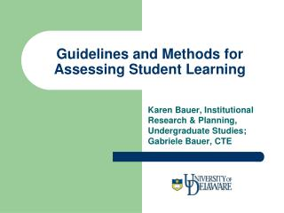 Guidelines and Methods for Assessing Student Learning
