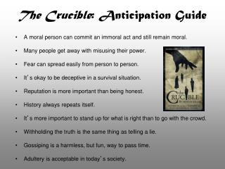 The Crucible : Anticipation Guide