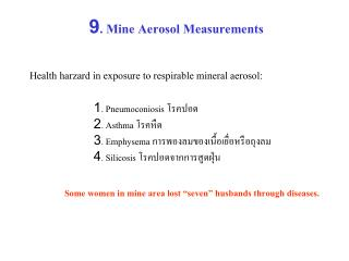 9. Mine Aerosol Measurements