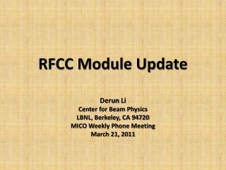 RFCC Module Update