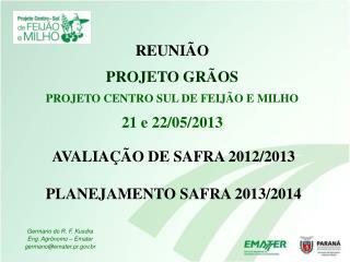 AVALIAÇÃO DE SAFRA 2012/2013 PLANEJAMENTO SAFRA 2013/2014