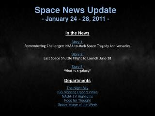 Space News Update - January 24 - 28, 2011 -