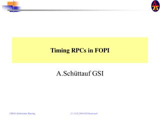 Timing RPCs in FOPI