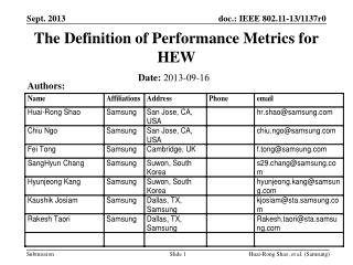 The Definition of Performance  Metrics  for HEW