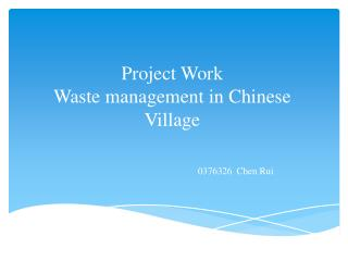Project Work Waste management in Chinese Village