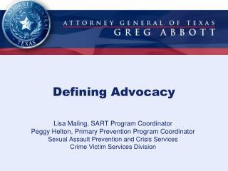 Defining Advocacy