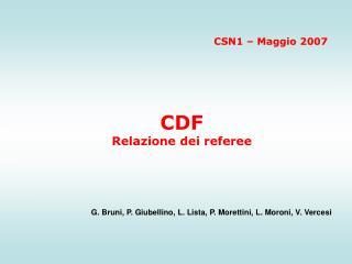CDF  Relazione dei referee