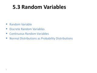 5.3 Random Variables