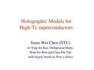 Holographic Models for High-Tc superconductors