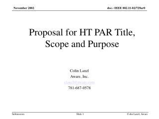 Proposal for HT PAR Title, Scope and Purpose