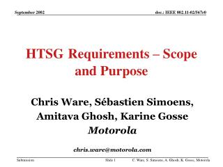 HTSG Requirements – Scope and Purpose