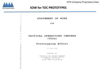 SOW for TOC PROTOTYPES