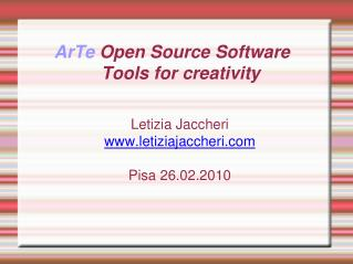 ArTe  Open Source Software  Tools for creativity