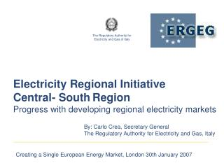 Electricity Regional Initiative Central- South Region