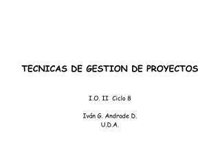 TECNICAS DE GESTION DE PROYECTOS