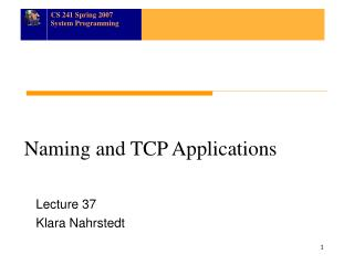 Naming and TCP Applications