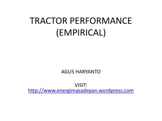 TRACTOR PERFORMANCE (EMPIRICAL)