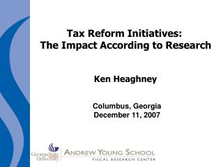 Tax Reform Initiatives:  The Impact According to Research