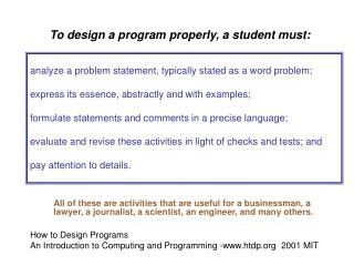 To design a program properly, a student must: