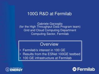 100G R&D at  Fermilab