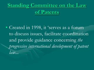 Standing Committee on the Law of Patents