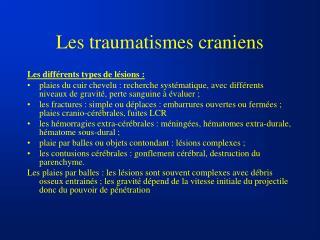 Les traumatismes craniens