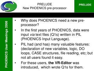 PRELUDE New PHOENICS pre-processor