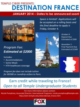 TEMPLE CIBER PRESENTS : DESTINATION  FRANCE