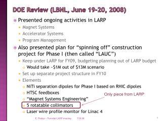 DOE Review (LBNL, June 19-20, 2008)