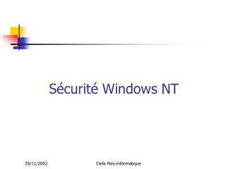 Sécurité Windows NT