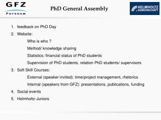 feedback on PhD Day  Website:  Who is who ? Method/ knowledge sharing