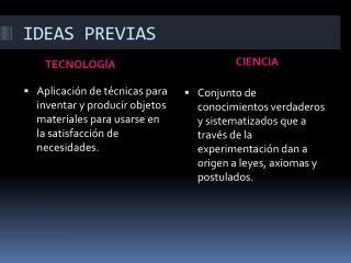 IDEAS PREVIAS