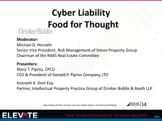 Cyber Liability Food for Thought