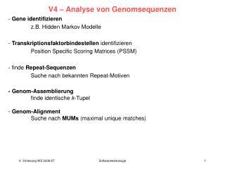V4   Analyse von Genomsequenzen