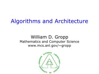 Algorithms and Architecture