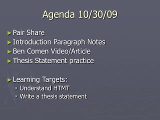 Agenda 10/30/09