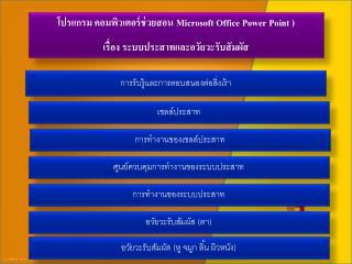 โปรแกรม คอมพิวเตอร์ช่วยสอน  Microsoft Office Power Point  )  เรื่อง ระบบประสาทและอวัยวะรับสัมผัส