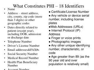 What Constitutes PHI   18 Identifiers
