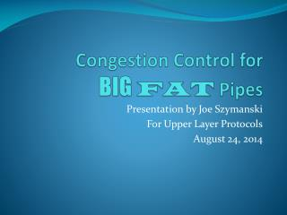 Congestion Control for BIG FAT  Pipes