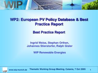 WP2: European PV Policy Database & Best Practice Report Best Practice Report