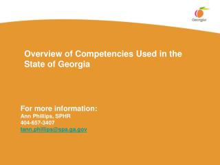 Overview of Competencies Used in the State of Georgia