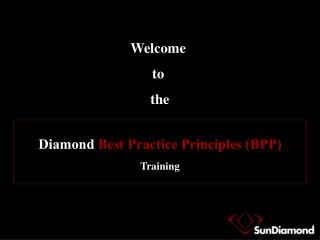 Diamond  Best Practice Principles (BPP) Training