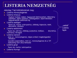 LISTERIA NEMZETSÉG