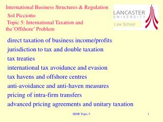 direct taxation of business income/profits jurisdiction to tax and double taxation tax treaties