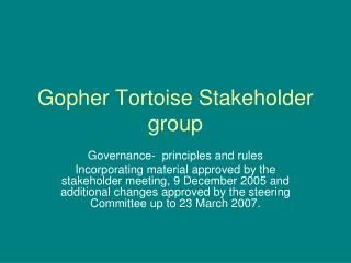 Gopher Tortoise Stakeholder group