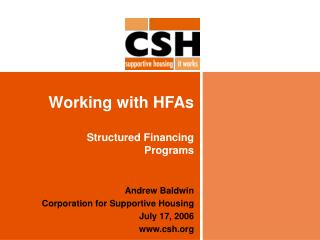 Working with HFAs Structured Financing  Programs