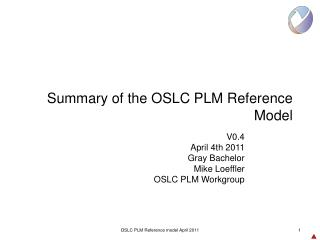 Summary of the OSLC PLM Reference Model