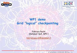 "WP1 demo Grid ""logical"" checkpointing"