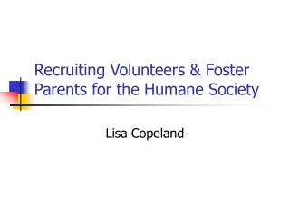 Recruiting Volunteers & Foster Parents for the Humane Society